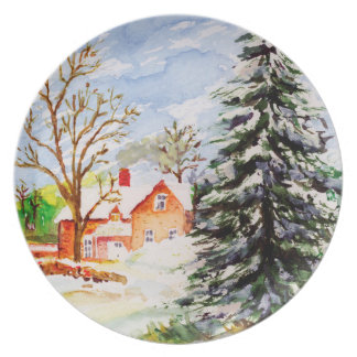 Home for Christmas Snowy Winter Scene Watercolor Dinner Plate