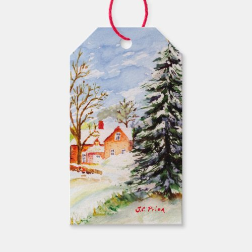Home for Christmas Snowy Winter Scene Watercolor Gift Tags