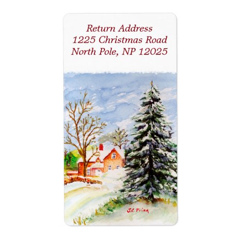 Home for Christmas Snowy Winter Scene Watercolor Label