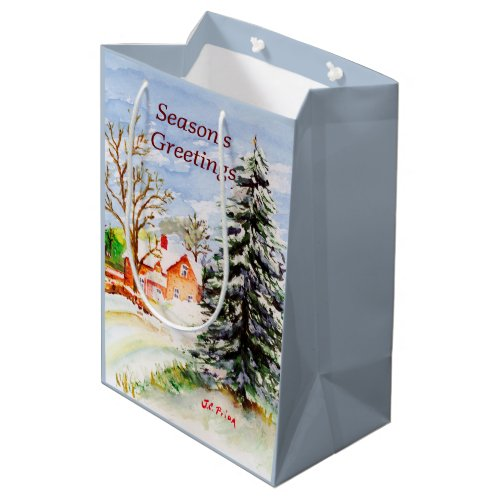 Home for Christmas Snowy Winter Scene Watercolor Medium Gift Bag