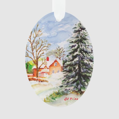 Home for Christmas Snowy Winter Scene Watercolor Ornament