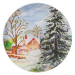 Home for Christmas Snowy Winter Scene Watercolor Plates