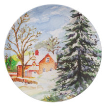 """""""Home for Christmas"""" Snowy Winter Scene Watercolor Plates"""
