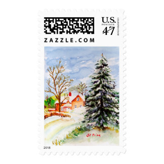 Home for Christmas Snowy Winter Scene Watercolor Postage