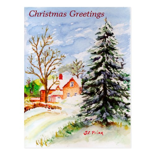 Home for Christmas Snowy Winter Scene Watercolor Postcard