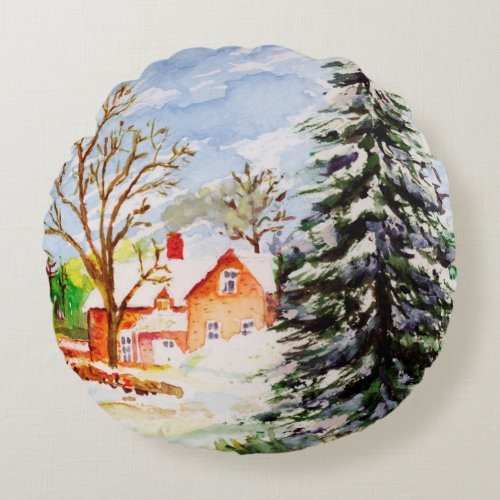 Home for Christmas Snowy Winter Scene Watercolor Round Pillow