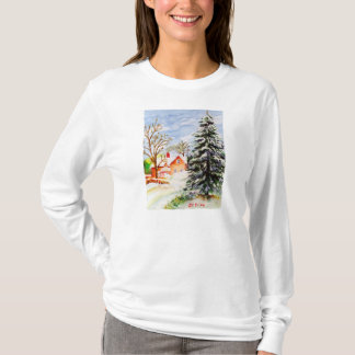 Home for Christmas Snowy Winter Scene Watercolor T-Shirt