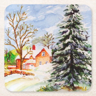 """Home for Christmas"" Snowy Winter Scene Watercolor Square Paper Coaster"
