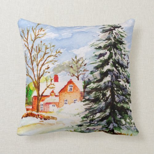 Home for Christmas Snowy Winter Scene Watercolor Throw Pillow