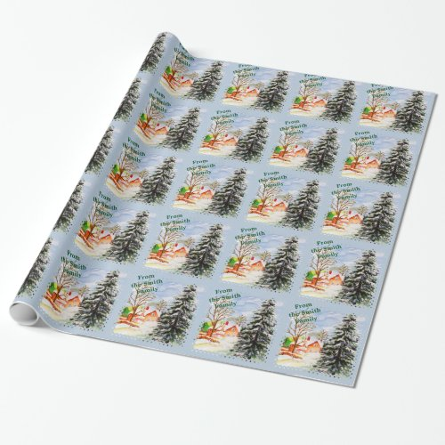 Home for Christmas Snowy Winter Scene Watercolor Wrapping Paper