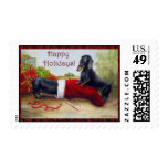 Home for the Holidays Dachshund Dogs Violano Postage Stamps