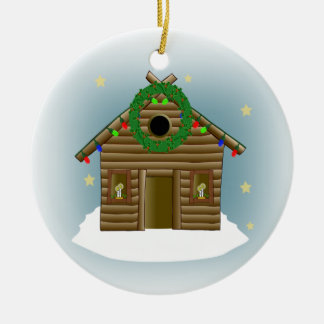 Home For The Holidays Log Cabin Christmas Double-Sided Ceramic Round Christmas Ornament