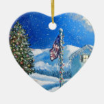Home For The Holidays Double-Sided Heart Ceramic Christmas Ornament