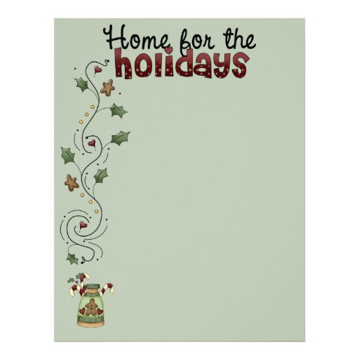 Home for the Holidays Recipe Pages (Un-Lined) Custom Letterhead