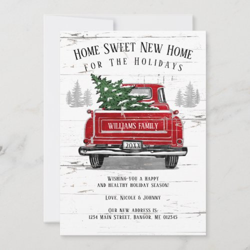 Home For the Holidays Vintage Red Truck Moving Announcement
