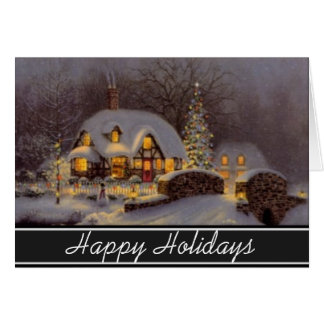 Home For The Holidays Winter Scene Greeting Cards