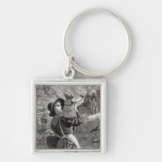 Home from Market, from 'Leisure Hour', 1888 Silver-Colored Square Keychain