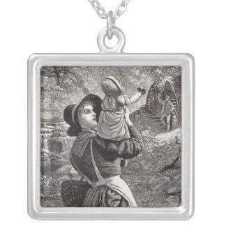 Home from Market, from 'Leisure Hour', 1888 Silver Plated Necklace