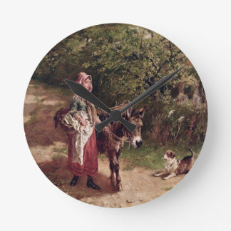 Home from Market (oil on canvas) Round Clock