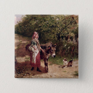 Home from Market (oil on canvas) Pinback Button