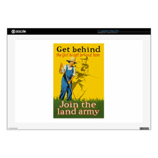 "Home Front Join the Land Army WWI Propaganda 17"" Laptop Decal"