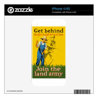 Home Front Join the Land Army WWI Propaganda iPhone 4S Decal