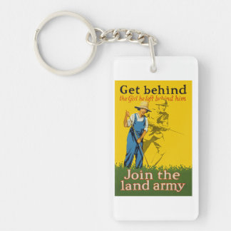 Home Front Join the Land Army WWI Propaganda Single-Sided Rectangular Acrylic Keychain