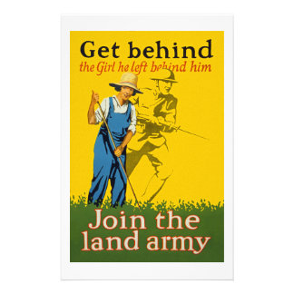 Home Front Join the Land Army WWI Propaganda Stationery