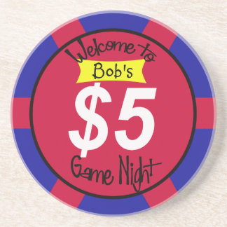 "home game night ""chip"" fiver sandstone coaster"