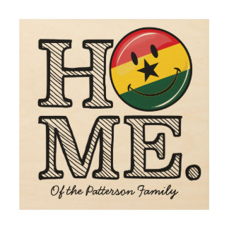 Home Ghana Smiling Flag Housewarming Wood Print