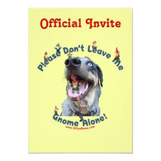 Home Gnome Alone Dog 5x7 Paper Invitation Card