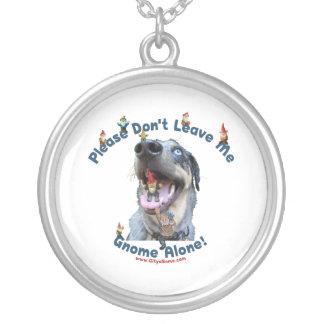 Home Gnome Alone Dog Round Pendant Necklace