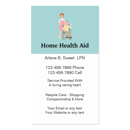 Home health aid business cards zazzle for Unique home care