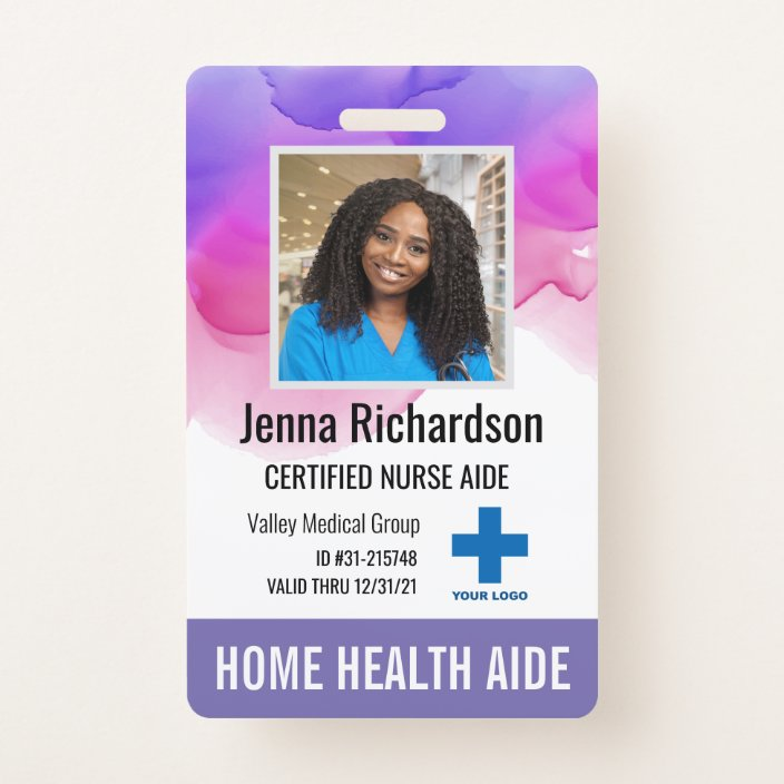 Home Health Aide Certified Nurse Aide Photo Id Badge Zazzle Com
