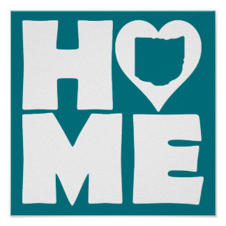 Home Heart State Poster Sign