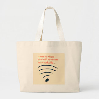 Home ice where wifi connects large tote bag