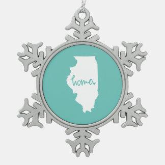 Home Illinois Custom Color Snowflake Pewter Christmas Ornament
