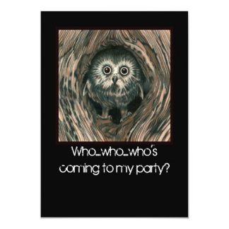 """Home In a Hole"" Owl invitations"