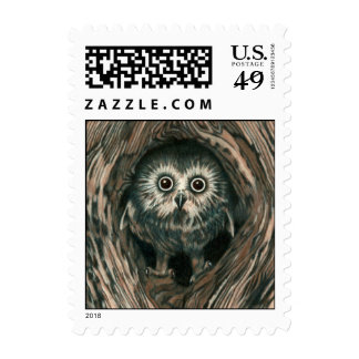 """Home In a Hole"" Owl Stamp"
