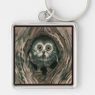 Home in a Hole Silver-Colored Square Keychain