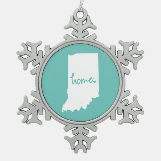 Home Indiana Custom Color Snowflake Pewter Christmas Ornament