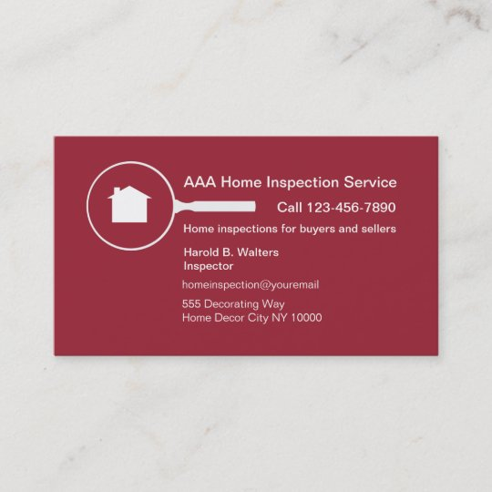 Home Inspection Business Card Zazzle