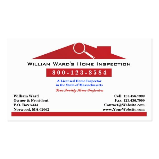 Home inspection business card zazzle for Home inspection business cards