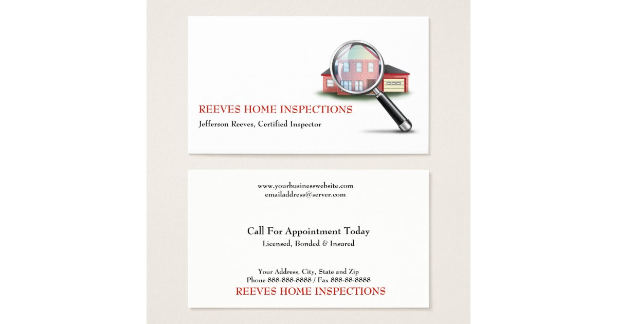 Home Inspection Inspector Business Card | Zazzle.com
