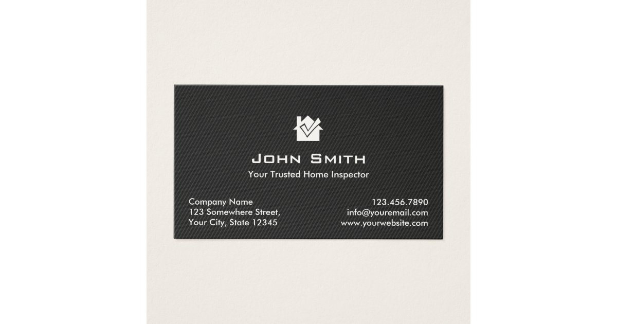 Home Inspection Modern Black Carbon Fiber Business Card | Zazzle.com
