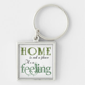Home Is A Feeling Phrase Keychain