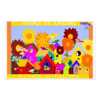 Home Is Among a Flock of Friends Full-Bleed Statio Personalized Stationery