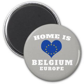 Home is Belgium Europe UK Flag Patriotic Magnet