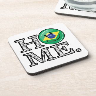 Home is Brazil Smiling Flag House Warmer Beverage Coaster
