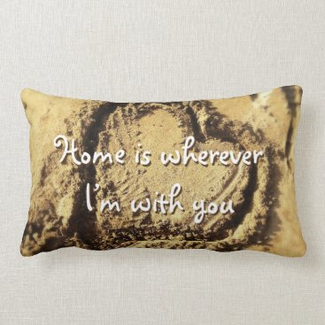 "Beach Themed ""Home is"" heart drawn in sand photo lumbar pillow"